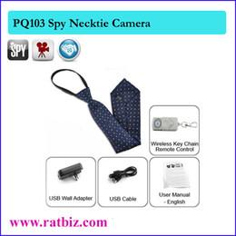Wholesale Spy Hidden Camera Pin - 8GB Necktie tie hidden camera neck tie spy camera neckwear Pin-hole camera with Remote Control DVR Camcorder PQ103
