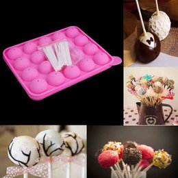 Wholesale Cake Pop Baking Pans - Baking Tool Bakeware Set Silicone Tray Pan Mould Mold for DIY Creating Lollipops Cake Pop Chocolate Truffle with 25pcs Sticks