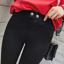 Wholesale Button Codes - Winter women's clothing women s best casual pants high elastic two buckle thick add velvet magic pants big code Skinny Leggings for women