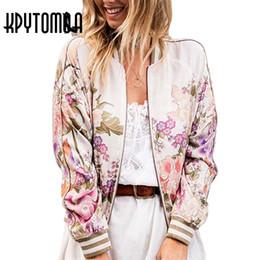 Jaquetas de bombardeiros vintage on-line-Atacado-Boho Vintage Floral Impresso Bomber Jacket Mulheres Casaco 2017 Nova Moda Outono Manga Comprida Casual Casacos Outerwear Chaqueta Mujer