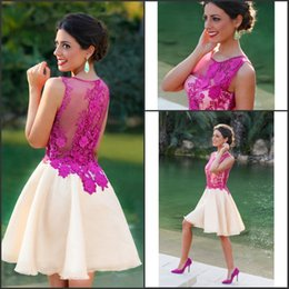 Wholesale Hot Mini Skirt Party - Hot Fuchsia Sweet Short Homecoming Dresses 2016 Sheer Crew Neck with Lace A Line Mini Ivory Skirt Illusion Back Prom Party Gowns BA2946