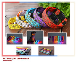 Wholesale Lighted Collars For Dogs - Pet Dog LED Collar Glow Cat Collars Flashing Nylon Light Up Training Collar for dogs 6 Colors 3 Sizes Pet Supplies Dog Collars Free Shipping