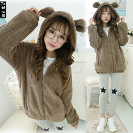 Wholesale Teddy Clothing Women - Autumn Winter New Women Clothing Korean Edition Cute Teddy Bear Plush Bunny Ears Coat Students Coat Plus Size Fashion Women Jacket