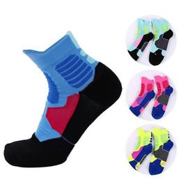 Wholesale Mens Elite Socks - 12 Pair Lot Mens Elite Socks Athletic Ankle Running Professional Basketball Socks Breathable Soccer Sports Socks