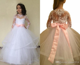 Wholesale Infants First Communion Dresses - Long Flower Girl Dresses with Lace Sleeves Back Bow Button Appliques Infant First Communion Dresses for Girls Wedding Party Pageant Dress