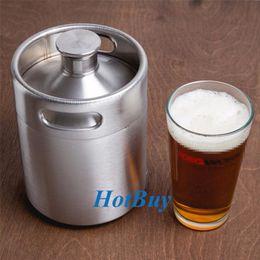 Wholesale Keg Barrel - Stainless Steel 2L 64oz Mini Beer Bottle Barrels Beer Keg Screw Cap Beer Growler Homebrew Wine Pot Barware For Party #3844