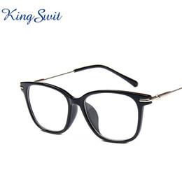 Wholesale Reading Glasses Gold Frame - KingSwit Top Quality Square Eyeglasses For Men & Women Black Frame Eye Glasses Classic Retro Optical Reading Eyewear KE122
