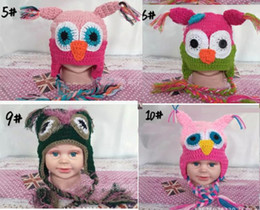 Wholesale Owl Hats For Kids - 10pcs WINTER Hot sales Baby hand knitting owls hat Knitted hat Children's Caps 11 Color crochet hats for kids BOY AND GIRL HAT FREE SHIPPING
