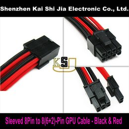 """Wholesale Gpu Wholesale - Wholesale- 12"""" Premium Sleeved UL 1007 18AWG GPU 8 Pin to 6+2 Pin PCI-E Power Extension Cable - Black & Red"""
