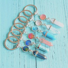 Wholesale Mermaid Key Chains - Mermaid Scale Keyring Keychains Fish Scales Hexagon Prism Natural Stone Keyring Starfish Key Chains for Women Gift