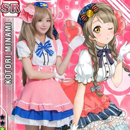 Wholesale Kotori Anime - Hot Sale 2017 Pink White Short Sleeve Love Live! Minami Kotori Cosplay Maid Uniform Dress Costume