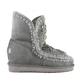 Wholesale Wedge Snow Boots For Women - Eskimo Snow Mid-Calf Boots Fur Material Super Warm 2.5cm Platform inner wedge with Rhinestone EVA Sole Shoes For Women