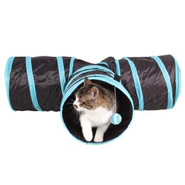 Wholesale Pet Tunnels Cats - New Design Cats Play Tunnel Toys Hanging Ball Funny Long Tunnel 3 Holes Pet Kitten Toy Foldable Cat Products JJ5001