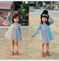 Wholesale Sleeved Gauze Dress - 2016 (long sleeve+ dress ) Girl Spring & Autumn suit baby plaid long-sleeved knit dress gauze children fashion clothes 5set BH2375