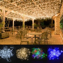 Wholesale Light Curtains For Weddings - X-MAS LED String Fairy Lights Window Curtain Icicle Lights Great for Home Wedding Party Garden(Warm white)