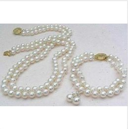 Wholesale Double Strand Pearl Necklace Bracelet - Perfect set of double strand 9-10mm Akoya white pearl necklace bracelet earring