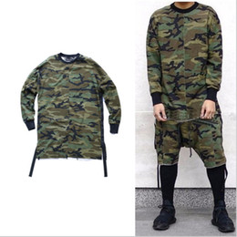 Wholesale Oversize Clothing - 2016 new hip hop swag T shirt clothes street wear urban men long sleeve longline OVERSIZE t shirt camo camouflage
