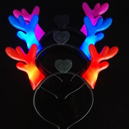Wholesale Plastic Animal Horn - LED Flashing Antlers Festival Headband Horn Light-Up Hairband Christmas Best Gift