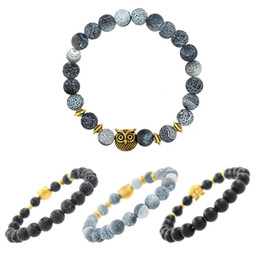 fossil chain Coupons - Punk Owl Design Elastic Adjustable Bracelets Antique Fossil Lava Beaded Strand Braclet For Women Men Hand Jewelry Pulseira