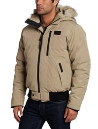 Wholesale Men S Short Down Jacket - New 2017 Khaki Men's Borden Bomber Parka Canadian Winter Jackets Homme Thick Warm white Duck Down Coats Parkas with Fur Hood Drop Ship