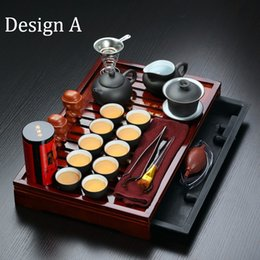 Wholesale Teapot Cup Sets - Sales promotion! Yixing Purple Clay Kung Fu Tea Set Solid Wood Tea Tray Teapot &Tea cups Drinkware Chinese tea ceremony
