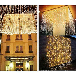 Wholesale Wholesale Curtain Wall - AC110V 220V 100 200 300 500 LED Curtain Lights Christmas Fairy String Lights For Wedding Holiday Party Outdoor Wall Bathroom Decoration
