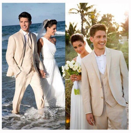 Wholesale Tuxedo For Beach Wedding - Custom Made Three Piece Suit Beige Beach Wedding Tuxedo Suits Handsome Mens Suits For Groom Formal Prom Suits ( Jacket+Pants+Vest+Tie)