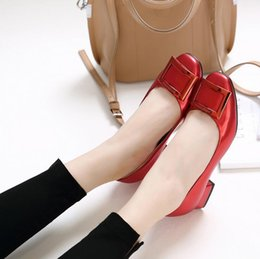 Wholesale Gold Shoes Thick Heel - Fall 2016 fashion footwear square square buckle thick with shallow mouth single shoes with women's leather shoes