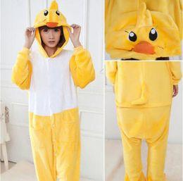 Wholesale Adult Duck Pajamas - Sweet Yellow Little Duck Pajamas Animal Suits Cosplay Outfit Halloween Costume Adult Garment Cartoon Jumpsuits Unisex Animal Sleepwear