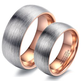 Wholesale Tungsten Dome - Anniversary Gift 8mm 6mm Brushed Finish Dome Tungsten Engagement Band Rings - Rose Gold, Black