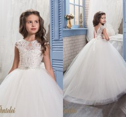 Wholesale Pearl Christmas Balls - Arabic 2017 Cheap Lace Flower Girl Dresses Vintage Pearls Tulle Child Dresses Beautiful Flower Girl Wedding Dresses F063