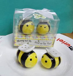 Wholesale Ceramic Baby Favors Wholesale - wedding door gifts Sweet as Can bee Ceramic Honeybee Salt and Pepper Shakers Baby Shower Favors Souvenirs 60pcs(30sets)
