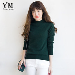 Wholesale Thick Knitwear Women - Wholesale- YuooMuoo Winter High Quality Turtleneck Cashmere Sweater Warm Solid Knitwear Autumn All-match Pullover Female Oversized Sweater
