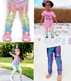 Wholesale Wholesale Fashion Pants - INS Baby Girls Unicorn Mermaid Scale Gradient Leggings tights xmas Kids Boys Fashion Glossy Scale Print Tights Children Long Pants 1-6Years