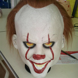 Wholesale Movie Films - Full Face Mask Horror Films Movies Stephen King's It Maks Joker Clown Pennywise Mask Latex For Christmas Halloween Cosplay HOT 2017
