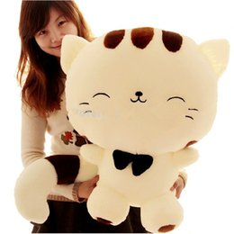 Wholesale Large Christmas Stuffed Animals - 80CM Include Tail Cute Large Face Cat Plush Stuffed Toys Pillow Birthday Gift Cushion Fortune Cat Doll Pusheen Kawaii Plush Toys