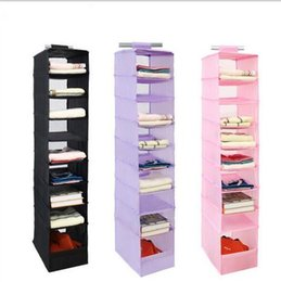 Wholesale Sort Shoes - 9 Cell Hanging Storage Box Clothing Shoe Storage Box Sorting Clothing Closet Shoe Door Wall Organizer KKA2297