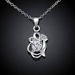 Wholesale Gemstone Pendants China Wholesalers - Hot sale fashion flower shape 925 silver Pendant Necklaces STPN067B, best gift white gemstone sterling silver jewelry necklace