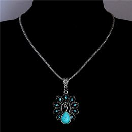 Wholesale Crystal Peacock Pendant Necklace - Wholesale-Free Shipping Rhinestone Crystal Peacock Pendant Necklace Water Drop Turquoise Necklace Vintage Jewelry Sweater Chain TL210