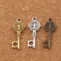 Wholesale Key Beads - Saint Benedict Medal Cross Smqlivb Key Religious Charm Beads 300pcs lot 9.4x24mm Pendants Alloy Handmade Jewelry DIY L1687