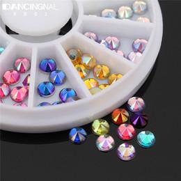 Wholesale Glitter Diamond Nail Designs - Wholesale- Fashion 12 Mix Color Glitter Diamond Gems 3D Design Acrylic Nail Art Rhinestones Decoration Wheel Nails Tips Decor Manicure Tool