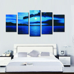 Wholesale Oil Painting Sea Blue Landscape - Professional Canvas Paintings 5 Panel Blue Color Sky and Sea Landscape Beautiful Seascape Wall Art Paintings on Canvas for Office Decoration