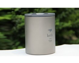 Wholesale Pounds Cups - Keith Ti3340 Ti82 Titanium Cup Mug Double-wall Vacuum Water Cup Outdoor Picnic Cookware 450ml 152g (w  plastic Lid)