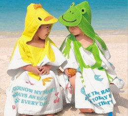 Wholesale Kids Hooded Beach Towels Wholesale - 100% Cotton Baby Beach Gown 11 Styles Hooded Children's Bathrobe Beach Towels Baby Cloak Cape Baby Bath Towel Kids Bath Robes