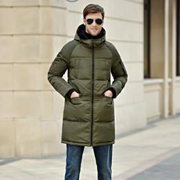 Wholesale Eiderdown Coat - Fall-The 2016 men's jacket code thick white eiderdown Hooded Jacket Mens Long Winter Coat Fashion Brand