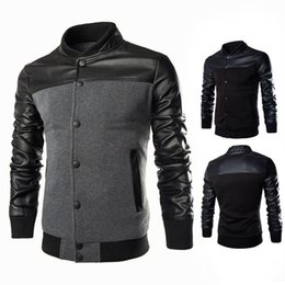 Wholesale Menswear Jacket - 2017 new British fashion leather shoes design menswear winter sweater stretch leisure jacket collar stand running snap