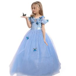 Wholesale Costume Children Cinderella - Princess Party Costume Dress Kids Children Girls Cinderella Dress Blue Butterfly Girl Dresses Holloween Christmas Cosplay