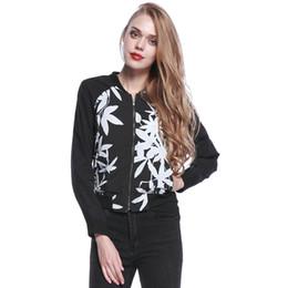 Wholesale Zip Brief - Women Black Leaf Print Zip Up Slim Casual Long Sleeve Short Bomber Jacket 2016 Fashion New Pockets Brief Baseball Basic Coats