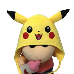 Poke Centre Pikachu Plush Chapeaux Ear Manchons Peluches Cosplay Chapeau d'hiver chaud Cap animal Cartoon Bonnets Chapeau Pour Adultes Enfants ? partir de fabricateur