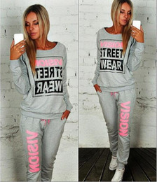 Wholesale Ladies Cycling Sets - 2016 Sets New Age Season Fashion Lady Round Collar Letter Two Color Fleece Long-sleeved Two-piece Outfit